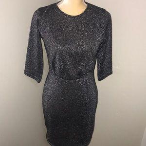 NWT Boohoo Silver Metallic Bodycon Black Dress